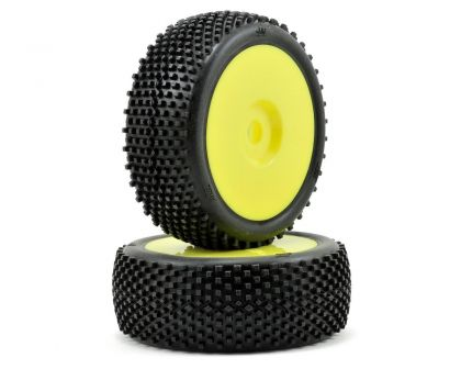 Hot Bodies BLOCK Mounted Tire White Yellow Wheel 1 8 Buggy