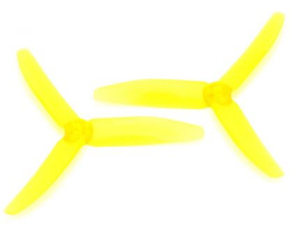 HRC Racing FPV Racing Propellers 3-blades PC Material 5040 Type ID M5 7mm Hub 1x CW und 1x CCW Clear Yellow