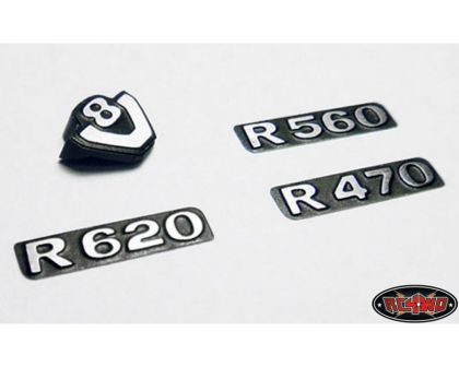 RC4WD Front Metal Grill Logos with v8 for Tamiya 1/14 Scania