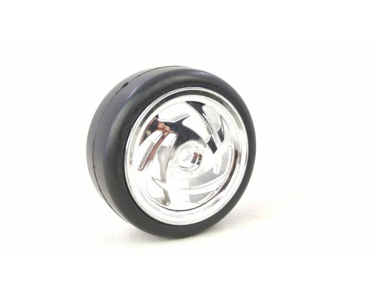 Absima  2510016 Onroad Räder Set Ronin Chrom Felgen mit Slick Reifen 1:10