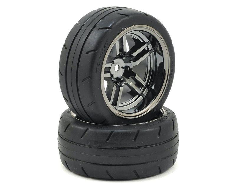 Traxxas Reifen auf Split Spoke Chrome schwarz Felgen hinten TRX8374 Ford GT ...